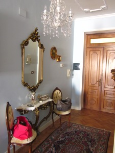 Painted ceiling area commissioned by Elisabetta for their newly renovated apartment's living  room and entrance foyer.
